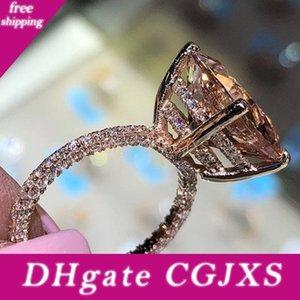 Domilay 2020 Brillante Big Champagne Zircon Bagues de femmes Unique Trois -Sides cristal de couleur d'or anneau de mariage cadeau