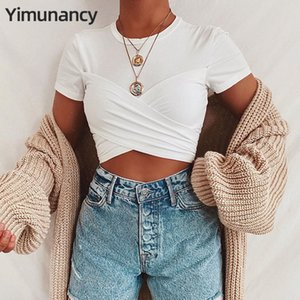 Yimunancy Short Sleeve Crop Top Women 2020 White Wrap Top Ladies O-neck Summer Sexy Bow Tie