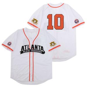 야구 경기장 고품질 자수 09 애틀랜타 블랙 크래커 흑인 리그 버튼 다운 RETRO 야구 저지