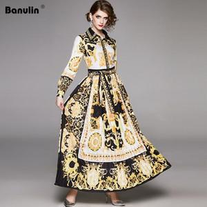 Maxi Vestido Banulin Runway Designer de Mulheres 2020 Primavera Vintage Baroque Floral Imprimir Puff luva Sashes plissada Vestido camisa