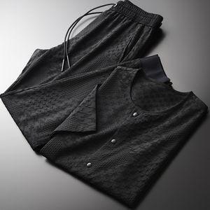 Minglu Summer Mens Sets (t-shirt+pants) Yarn-dyed Single Breasted Short Sleeve Man Sets Plus Size 4xl Slim Fit Mens