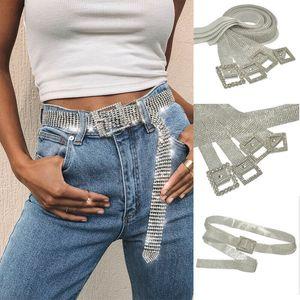 Hirigin Women Shiny Belt Fashion Waist Chain Crystal Diamond Alloy Waistband Full Rhinestone Luxury Wide Party Belt