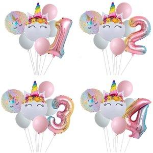 Para decorações Unicorn partido dos miúdos brinquedo balões de casamento tema aniversário do número Balloon Decoração