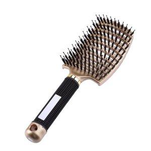 Mujeres profesionales del pelo del cuero cabelludo Peine anti-estático rizada recta Styling Salon del cepillo de pelo del cuero cabelludo masaje peine con cerdas