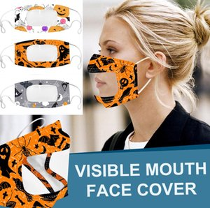 Máscara visível face cobrir a boca Anti Poeira reutilizável lavável Rosto Halloween Lip Máscara linguagem adultos surdos-mudos Máscaras Designer transparentes