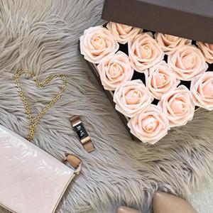 20 capi 8CM artificiale gomma piuma del PE Rose testa di fiori bouquet sposa casa Fiore decorazioni di nozze Scrapbooking DIY Flower