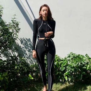 Calças pretas de mangas compridas estilo das mulheres SI8P9 2019 mergulho diving suit New coreano dividir três peças de emagrecimento diving suit maiô