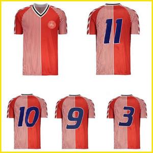 1986 Dänemark Weltcup Retro Fussball Jerse 86 91 Dänemark Nationalmannschaft Michael Laueupup Elkjær Berggreen Olsen Vintage Classic Football Shirt