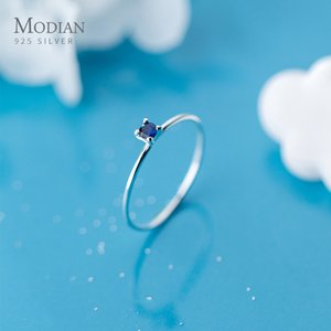 Modian Classic Simple Stackable Finger Slim Ring for Women Genuine 925 Sterling Silver Blue Crystal Ring Fine Jewelry Bijoux