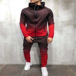 Цвет Hoodies Брюки 2pcs одежда Комплекты пуловер Нижнее Мужская одежда Мужская мода капюшоном костюмы дизайнера Gradient