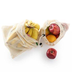 Многоразовый Овощной Фрукты Корзина из органического хлопка Mesh Produce кулиской Сумка Для дома Кухня Бакалея хранения EWA909