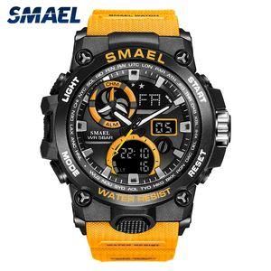 SMAEL 2020 Спортивные часы Мужчины Dual Time Водонепроницаемый 50M Miliatry часы Chrono Alarm Наручные часы Vintage Классический Цифровые часы 8011