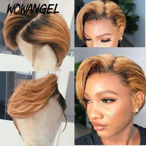 Wowangel Pixie Cut Kısa Peruk 4 * 4 Dantel Kapatma İnsan Saç Peruk Yan Bölüm Pixie Ombre Renkli% 180 Yoğunluk Brezilyalı Remy saç