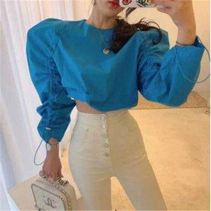 Женщины Блузки Рубашки 2021 Осень Прибытие Эластичный запрет Дизайн Слованная Рукав Плиссированные Шикарные Рубашки Сплошной Цвет Короткая Блузка для LADI