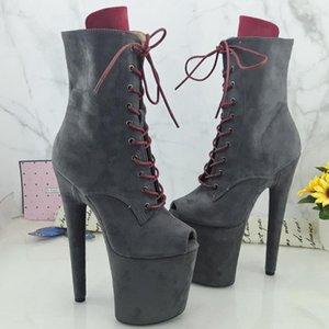 Leecabe gris del ante con RED touge 20cm / 8 pulgadas plataforma de tacón alto botas de punta abierta danza de poste