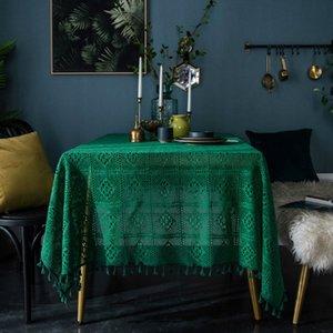 Retro Yeşil El yapımı Tığ Tablecloth Pamuk Örme Hollow Sehpalar Kapak Bezi Arkaplan Dekorasyon Bezleri