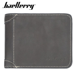 Wholesale Baellerry Men Wallets Purse Bifold Short Leather Men Small Zipper Wallet Card Holder Coin Money Purse 100PCS lot
