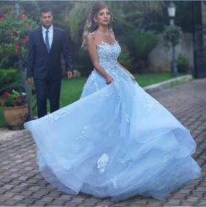 Довольно светлое небо голубое линия свадебные платья аппликация кружевные ремешки невесты платье иллюзия o-шеи без спинки длинные арабские сады свадебные платья