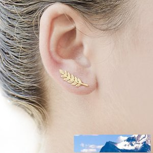 New Vintage Jewelry Exquisite Feather Earrings for Women Beautiful Tree Simple Leave Earrings Gold & Silver Plated Ear Clip B003
