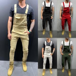 2020 Retro Design Moda de Slim Preto Azul Denim Jumpsuit Shredded algodão jeans Romper Jeans Masculino Bib Jumpsuit Jean Pants