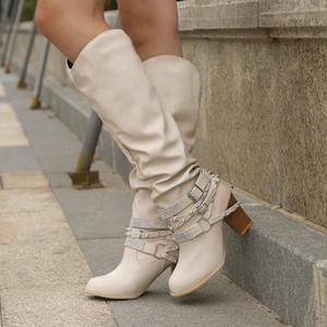 Mulheres Long Botas Novos Rebites Bukle Calçados Rivet Rhinestone Chunky Salto Alto Pu Botas de couro Ladies ocidental do tornozelo Sexy partido Botas