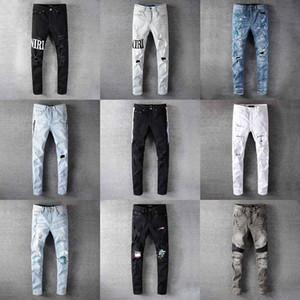 2020 Top di alta qualità del progettista Mens Amiri Jeans Roccia Moto di lusso Denim modo degli uomini Streetwear Biker Uomo popolari di Hip Hop dei pantaloni