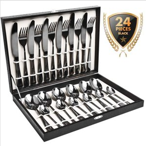 Dinnerware Set Black Gold Stainless Steel Flatware Sets Tableware Cutlery Spoon Set Party Supplies Kitchen Wood Gift Box 24 PCS