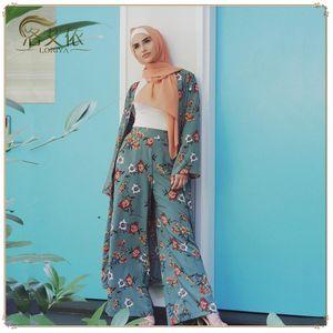 Abaya Kimono Set Kaftan Robe Dubai Islã muçulmano Hijab Vestido Caftan Marocain Ramadan Elbise Qatar Oman turco roupa islâmica