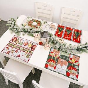 Winter Holiday Placemat Natal Papai Noel Resistente ao calor lavável lugar da tabela Mats para Cozinha Mesa de Jantar Decoração DHE1230