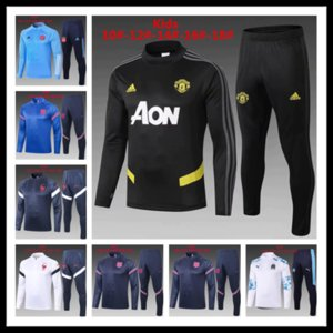 Real madrid kids tracksuit set boys paris kids 20 21 football kits half zipper soccer training suit football tracksuit jerseys @34864