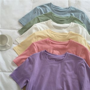 Round Collar Pure Cotton T-shirts Candy Color Short Sleeve Women Casual Loose Spring Summer T-shirt 6 Colors