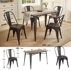 US Stock U_STYLE Antique 5-Piece Metal Dining Room Set Solid Wood Table Chair Dining Room Furniture SL000024DAA