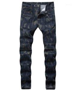 Середина талия Мужской Моды Мотора брюки Мужская одежда Straight Fold Кожа да кости мужских длинных джинсов
