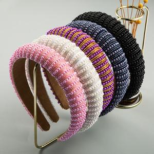 Perline intarsiato Donne Moda Fasce spugna capelli della fascia del cerchio colorato dell'involucro della testa del Bandeau Per le signore delle ragazze femmine 15 5hm C2