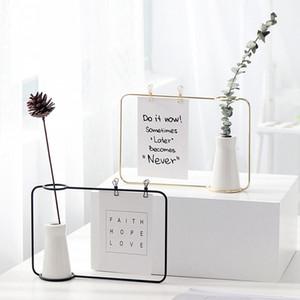 Vase en céramique Home Decor Flowerpot avec fer Cadres de bureau Vase Forum de plante Photos Cadre Set Dropshipping