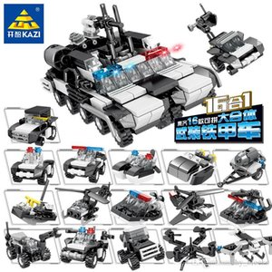 16in1 City Police Station Car Headquarters Building Blocks Technic Truck Military Fighting Vehicle Bricks Toys For Kids 03