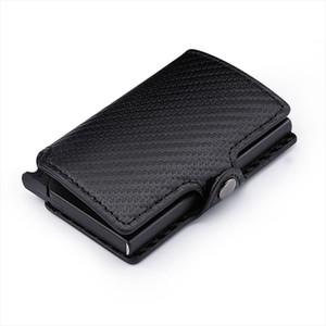 Carbon Fiber Mini Pop Up Rfid Wallet for Men Slim Leather Business ID Credit Card Pocket Holder Wallet