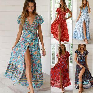 Hot Sale New Popular 2019 Summer Women V-neck Short Sleeve Boho Bohemian Floral Print High Split Beach Long Dress Wrap Maxi Dresses