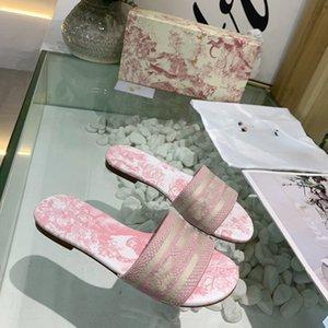 Atacado top 2020 Design D Mule Dway En Coton Brode Deslize de luxo de designer sandálias femininas novo topo de moda das mulheres Chinelos Tamanho 35-41 s1