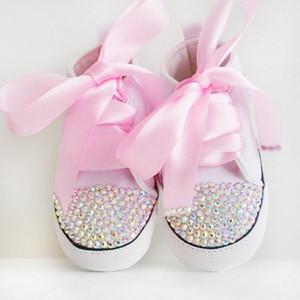 Dollbling горного хрусталя ребенок обуви Bling белого шнурка ребёнки кристаллизуют обувь малыши Prewalker мило 0-18month iT9y #