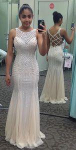 Charming Beads Tulle Evening Dress Sexy Back Mermaid Long Prom Gown Vestidos De Festa Custom Made