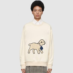 19FW Lamb Applique Cartoon Crewneck Sweatshirt Men Women Cute Pullover Autumn Winter Long Sleeve Hoodie Street Outwear HFYMW34536