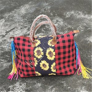 Women Sunflower Handbad Big Tote Patchwork Checkered Designer Handbag Handle Vintage Shoulder Bag Travel Duffle Weekender Bag D81904