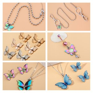 8Seasons Fashion Multicolor Butterfly Argento Colore in rilievo Collana Collana Keychain Orecchini Donne Matrimoni Party club gioielli set