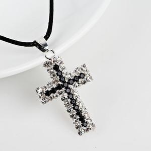 Brillante diamante cruz colgantes collar pendiente joyería rhinestone cuerda colgante hombres mujeres amante regalo pareja joyería religiosa