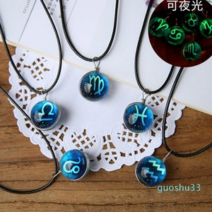 Hot Sale Twelve constellations cosmic glass gem necklace