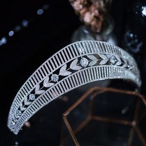 Joyería Queenco princesa Crown Tiara circón plata de las mujeres del color del pelo de la venda nupcial de la boda Accesorios I9zU #