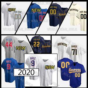 9 Javier Baez Jerseys 22 Christian Yelich Cubs 44 Anthony Rizzo 23 Ryne Sandberg personalizado Brewers Josh Hader Keston Hiura Lorenzo Cain