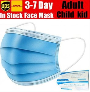 Disposable Face Mask 3 Layers Earloop Anti-Dust Face masks Mouth Masks with box KID boy adult mask Shipping with in 12-24 hours