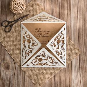 Convite branco do casamento do laço com convites de papel Kraft convite rústico cartões - conjunto de 50 peças
